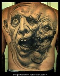 weird face zombie tattoo