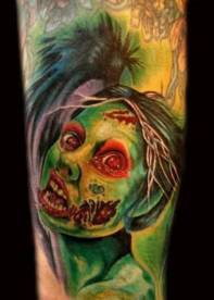 green face girl zombie tattoo