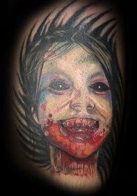spooky girl face zombie tattoo