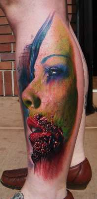 girl face leg zombie tattoo
