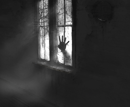 scary monster hand on window